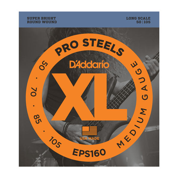 D'Addario EPS160 ProSteels Medium Gauge Long Scale Bass Strings - 4 pack