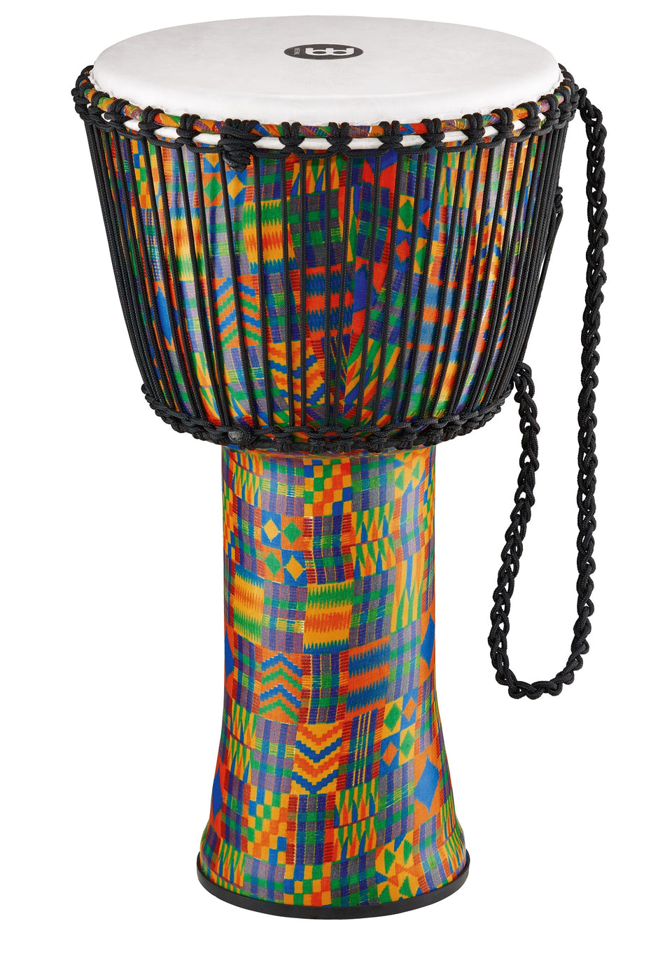 "Meinl 14"" Rope Tuned Travel Djembe Kenyan Quilt Synthetic Head"