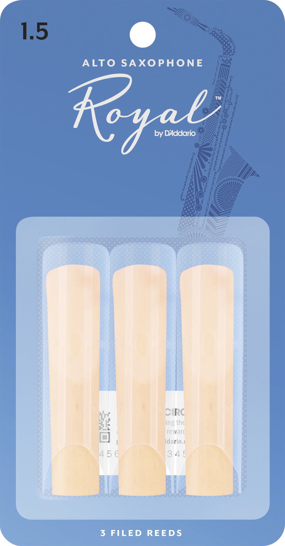 D'Addario RJB0315 Rico Royal Alto Sax Reeds, Strength 1.5, 3-Pack