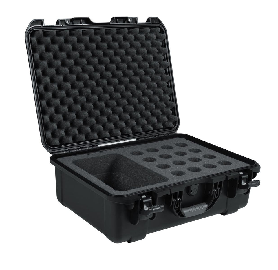 Gator Cases GM-16-MIC-WP Titan Series Waterproof Wired Microphone Case - 16 Mics