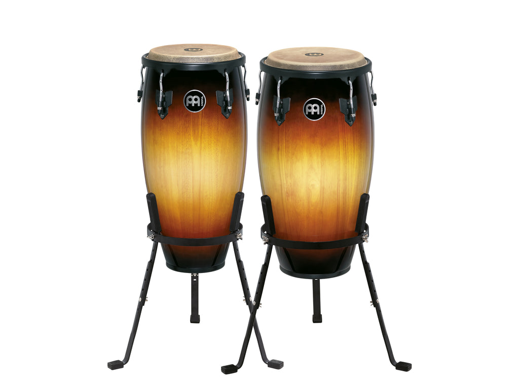 "Meinl HC512VSB Headliner Wood Conga Set 11"" And 12"" With Basket Stands, Vintage Sunburst"