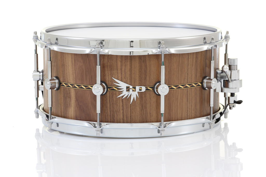 "Hendrix 14"" x 6.5"" Archetype Stave Snare Drum - Satin Walnut, 3D Wood Inlay"