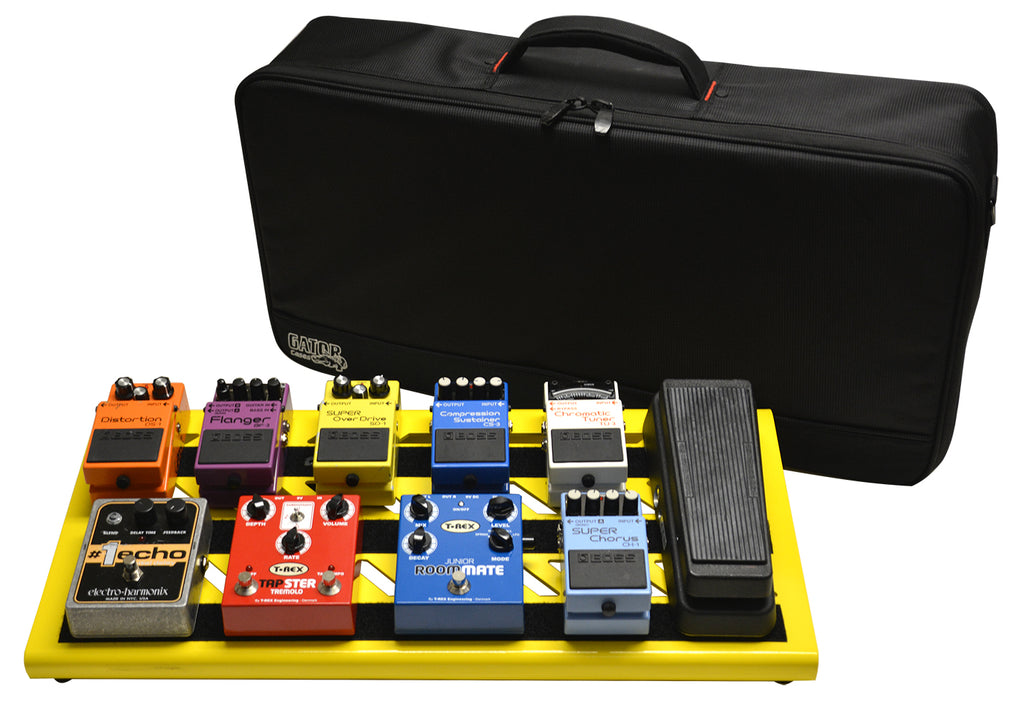 Gator GPB-BAK-YE Overdrive Yellow Large Aluminum Pedal Board With Gator Carry Bag And Bottom Mounting Power Supply Bracket