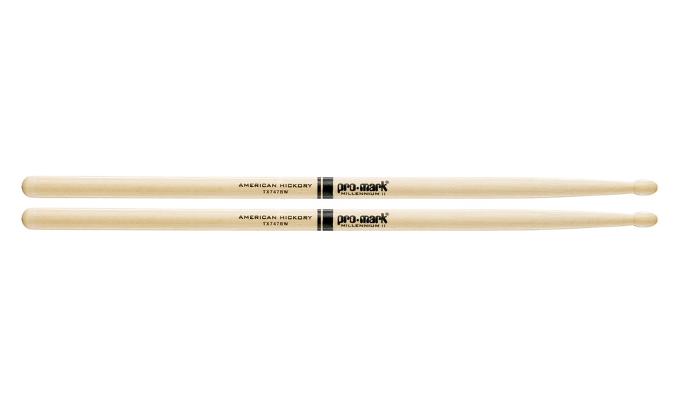 Promark TX747BW Hickory 747B Super Rock Wood Tip drumstick
