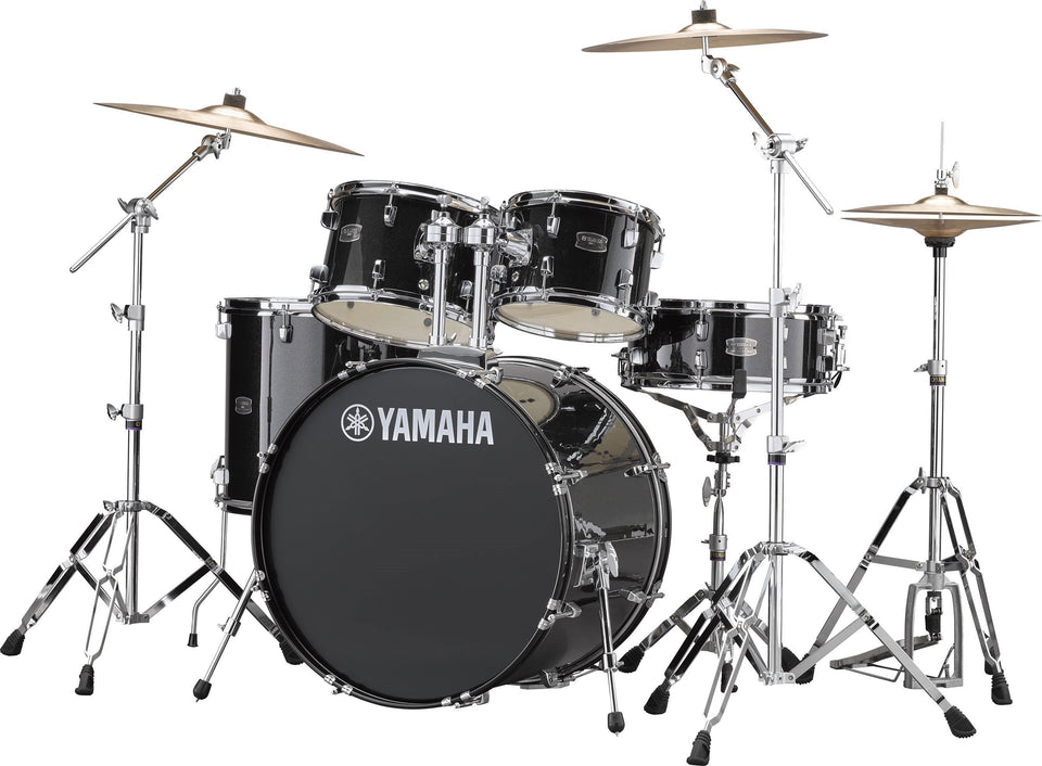 "Yamaha Rydeen 22"" Kick 5 Piece Shell Pack w/ Hardware And Cymbals - Black Glitter"