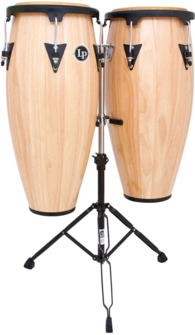 "LP LPA647-AW Aspire Wood Congas 11"" And 12"" Set With Double Stand, Natural/Black"
