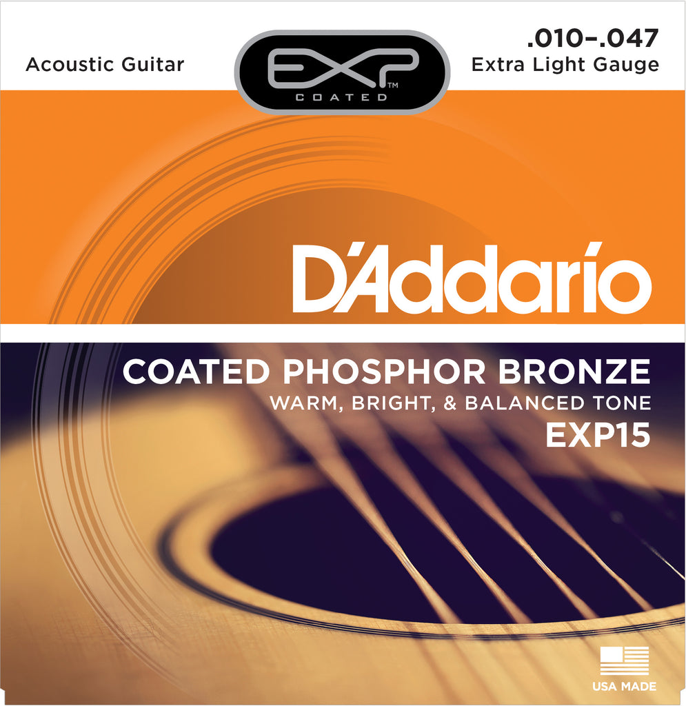 D'addario  EXP15 Coated Phosphor Bronze Acoustic Guitar Strings, Extra Light, 17441