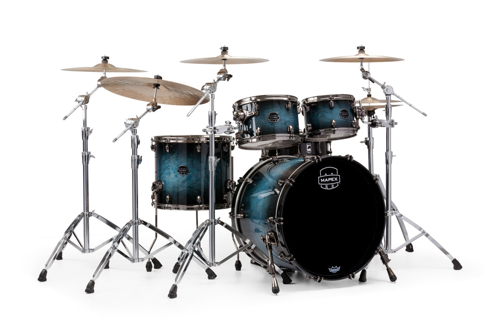Mapex Saturn V MH Exotic Rock 4 Piece Drum Set Shell Pack - Deep Water Maple Burl