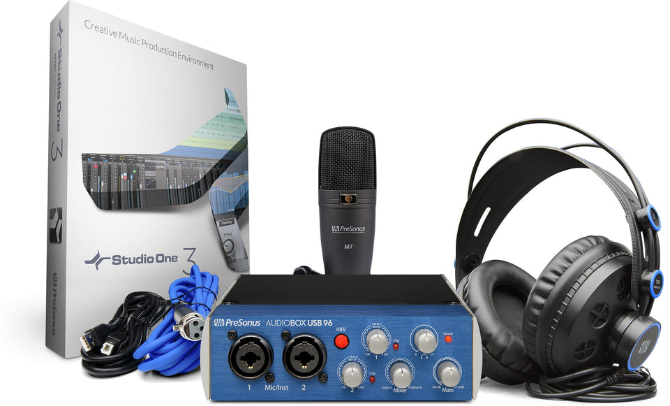 Presonus AudioBox 96 Studio Bundle W/ M7 Microphone, HD7 Headphones, Studio One Software