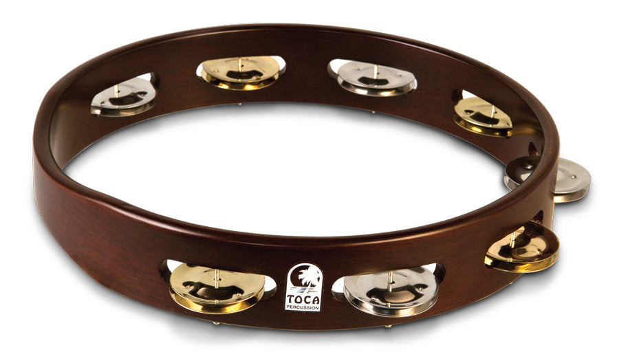 "Toca T1010D 10"" Acacia Wood Single-Row Tambourine"