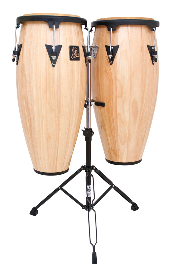 "LP LPA646-AW Aspire 10"" And 11"" Conga Set W/ Double Stand - Natural/Black"