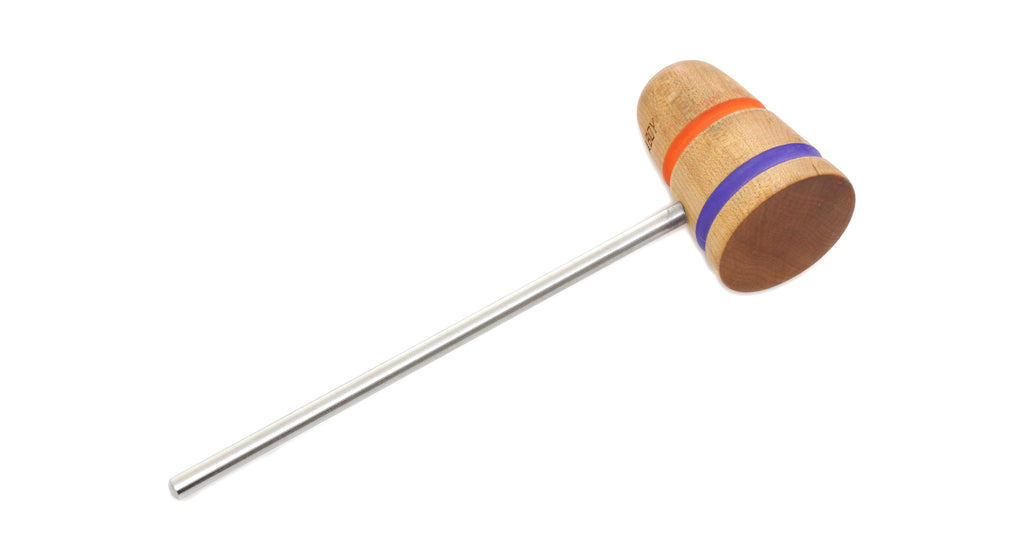 Low Boy Standard Wood Bass Drum Beater - Natural Maple, Orange/Purple Stripes