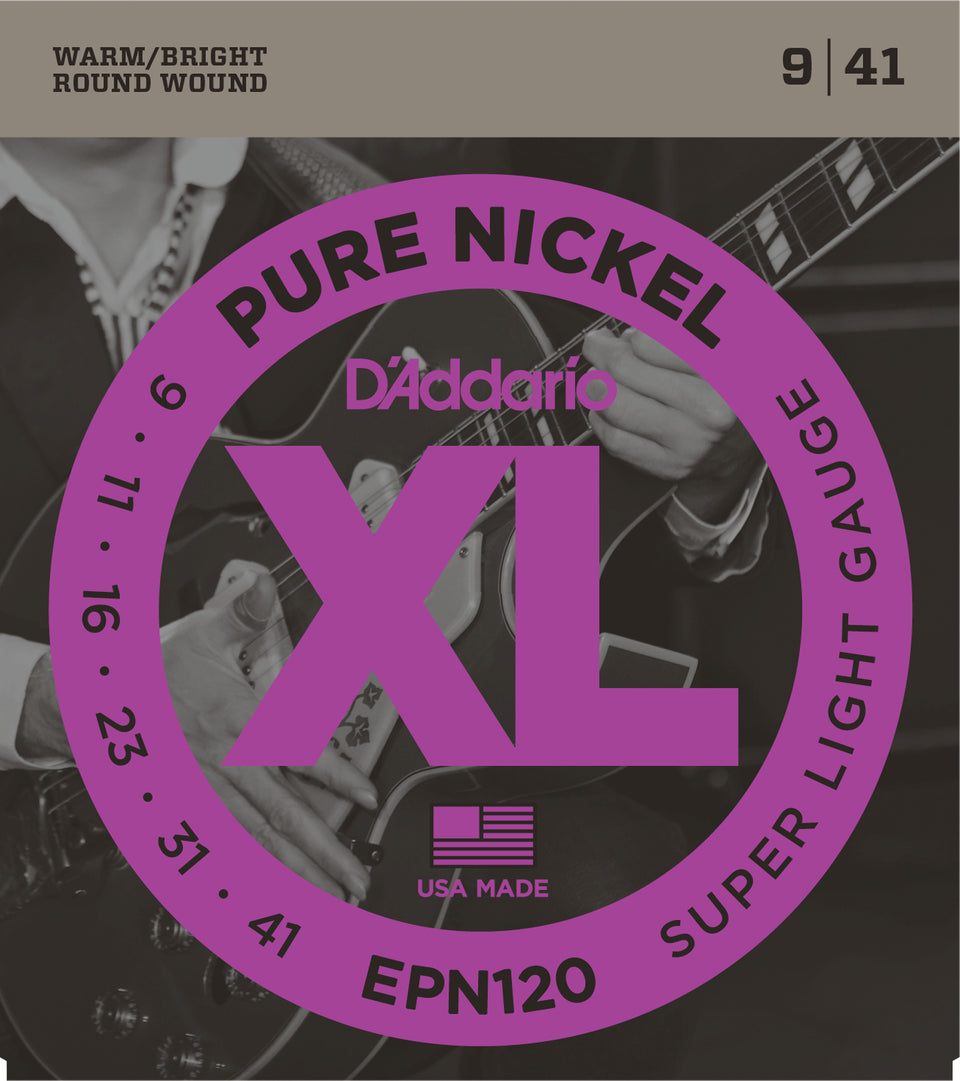 D'addario  EPN120 Pure Nickel Electric Guitar Strings, Super Light, 15220