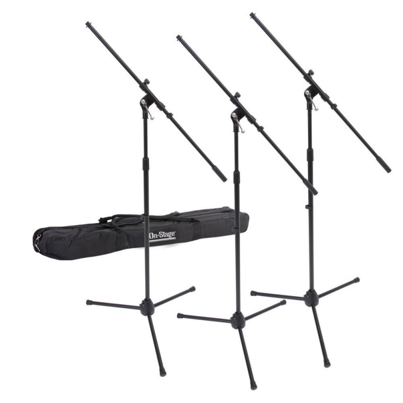 On-Stage Stands MSP7703 Euroboom Mic Stand 3-Pack w/ Bag