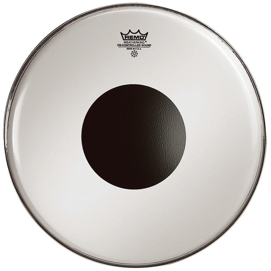 "Remo 15"" Smooth White Controlled Sound Drum Head With Black Dot"
