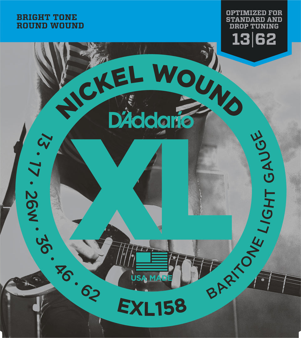 D'addario  EXL158 Nickel Wound Electric Guitar Strings, Baritone Light, 13-62