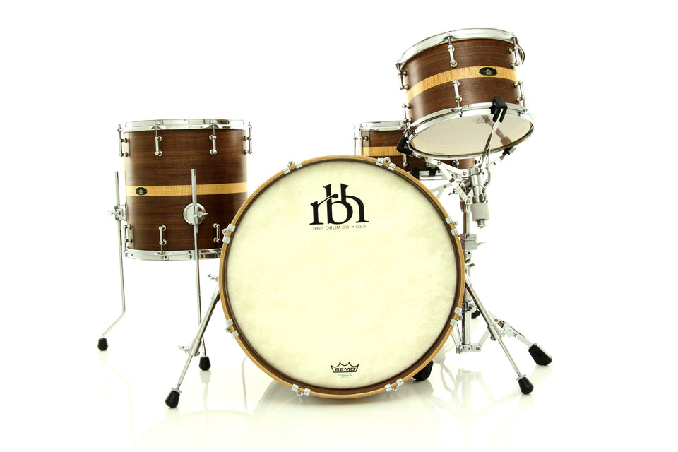 RBH Drums Monarch Custom 4 Piece Drum Set Shell Pack - Natural Wax Finish Over Coffee Stain