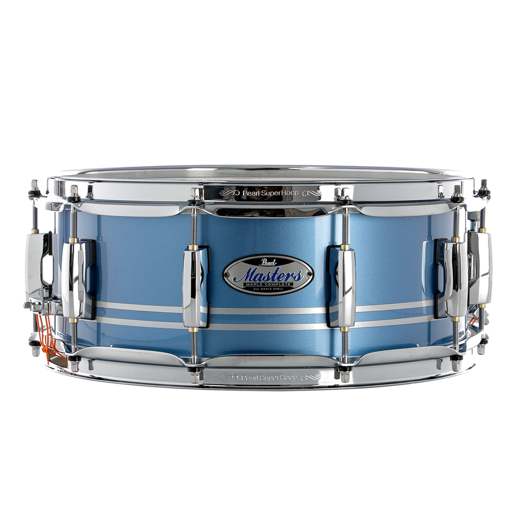 "Pearl 14"" x 5.5"" Masters Maple Complete MCT Snare Drum - Light Blue Metallic Stripe"