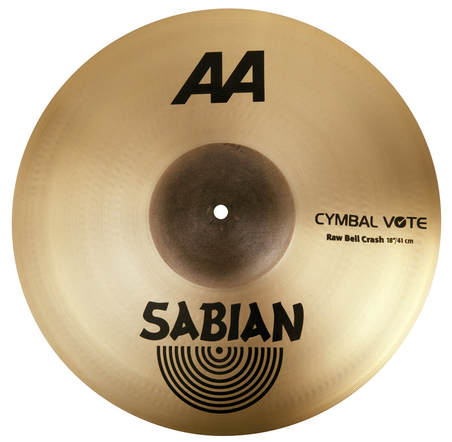 "Sabian 18"" AA Raw Bell Crash Cymbal Brilliant Finish"