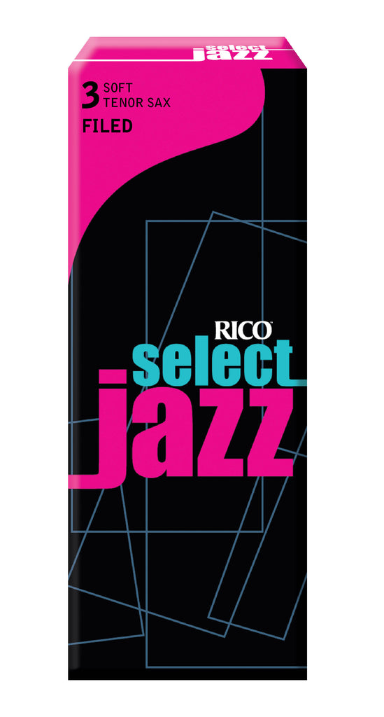 D'Addario Woodwinds RSF05TSX3S Rico Select Jazz Tenor Sax Reeds - 5 Pack, Filed, 3 Soft
