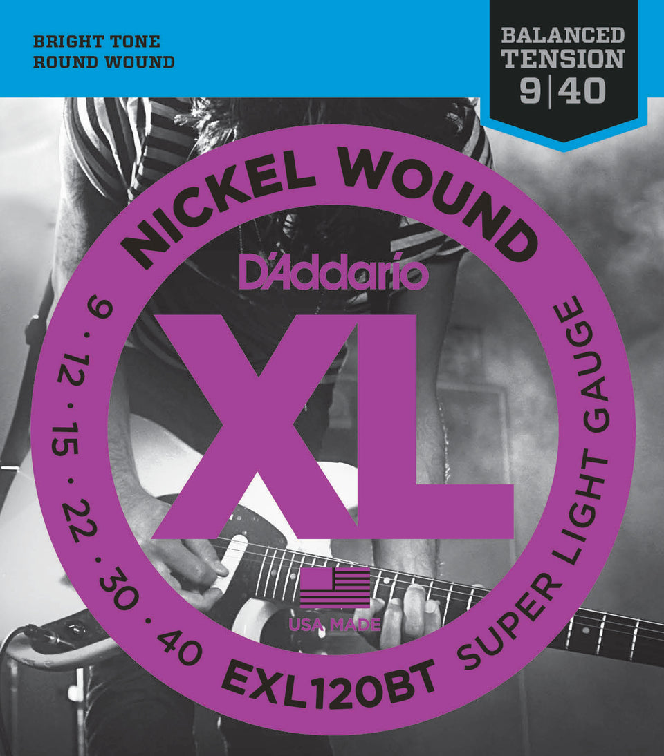 D'addario  EXL120BT Nickel Wound Electric Guitar Strings, Balanced Tension Super Light, 14855