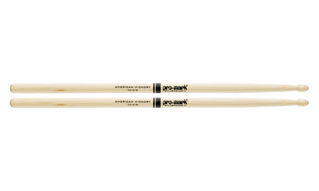 Promark TX747W Hickory 747 Rock Wood Tip Drumsticks