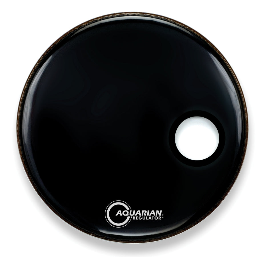"Aquarian 22"" Black Regulator Bass Drum Head With 4.25"" Offset Port"