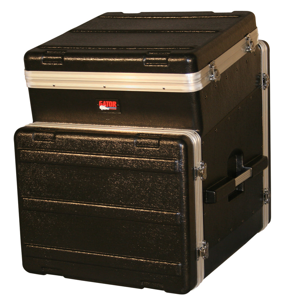 Gator Cases GRC-10X8 ATA Molded PE Slant Top Console Rack 10U Top x 8U Bottom