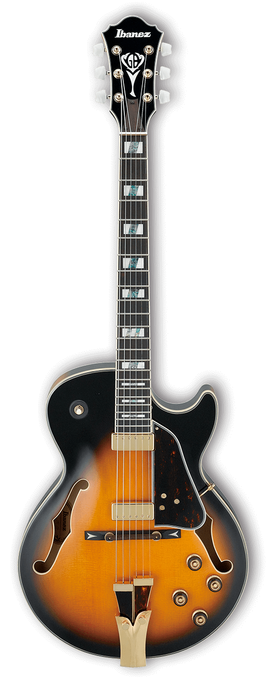 Ibanez GB10SEBS George Benson Hollow Body Electric Guitar - Ebony Fingerboard, Brown Sunburst
