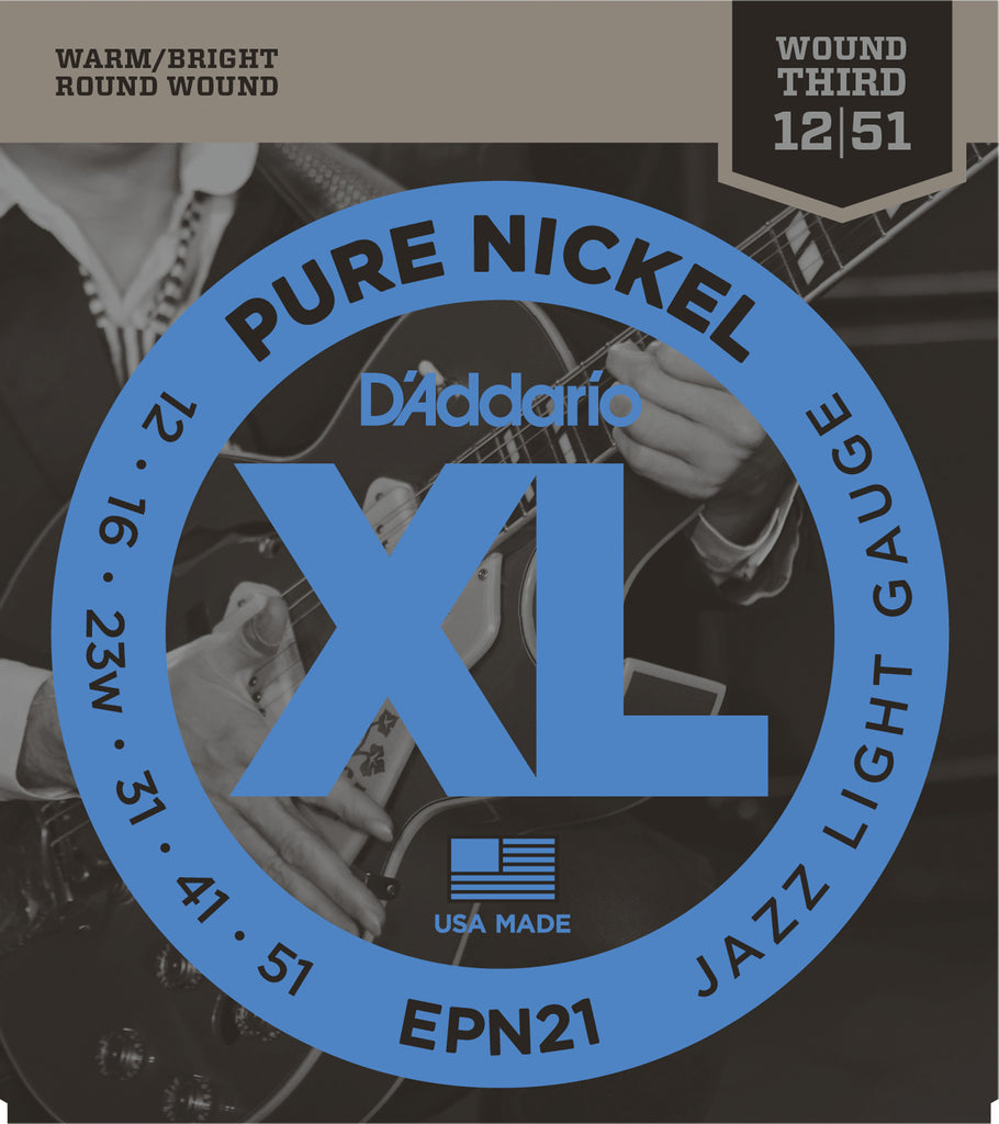 D'addario  EPN21 Pure Nickel Electric Guitar Strings, Jazz Light, 19329