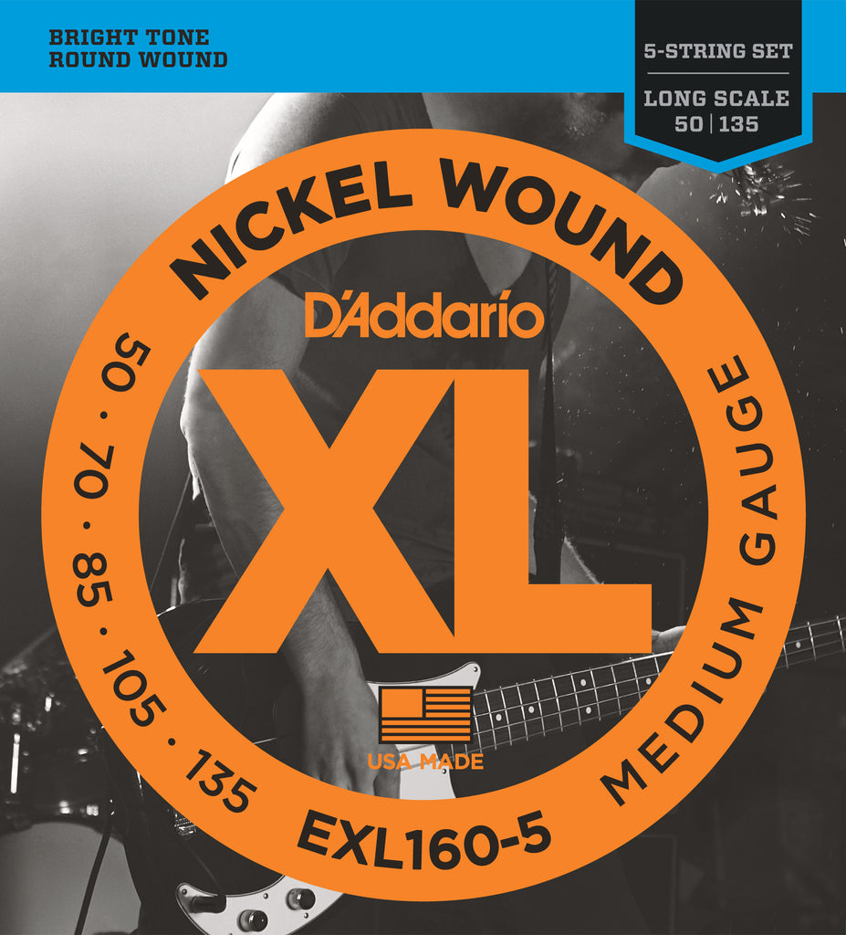 D'addario EXL160-5 5-String Nickel Wound Bass Guitar Strings, Medium, 50-135, Long Scale