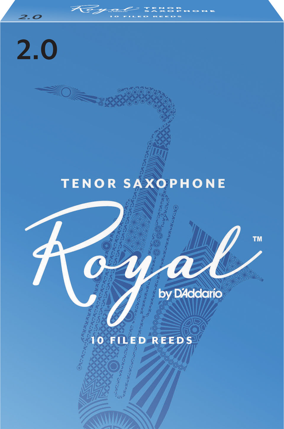 D'Addario RKB1020 Rico Royal Tenor Sax Reeds, Strength 2.0, 10-Pack