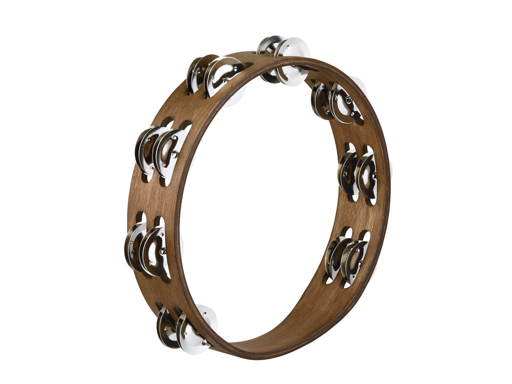 Meinl Percussion Traditional Wood Tambourine - 2 Rows, Stainless Steel Jingles