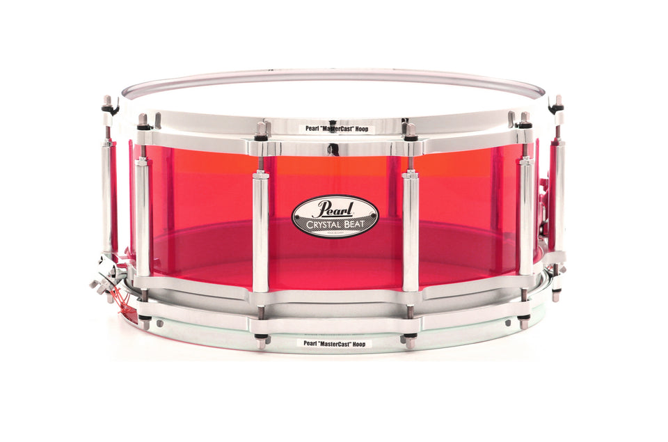 "Pearl 14"" x 6.5"" Crystal Beat Series Free Floater Snare Drum - Ruby Red"