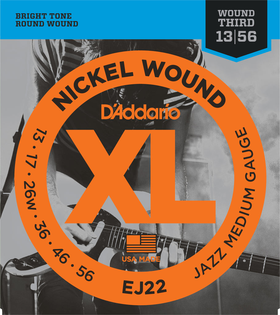 D'addario  EJ22 Nickel Wound Electric Guitar Strings, Jazz Medium, 13-56