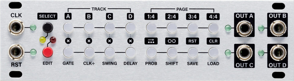 Intelligel Steppy 1U 4-Track 64-Step Gate Sequencer