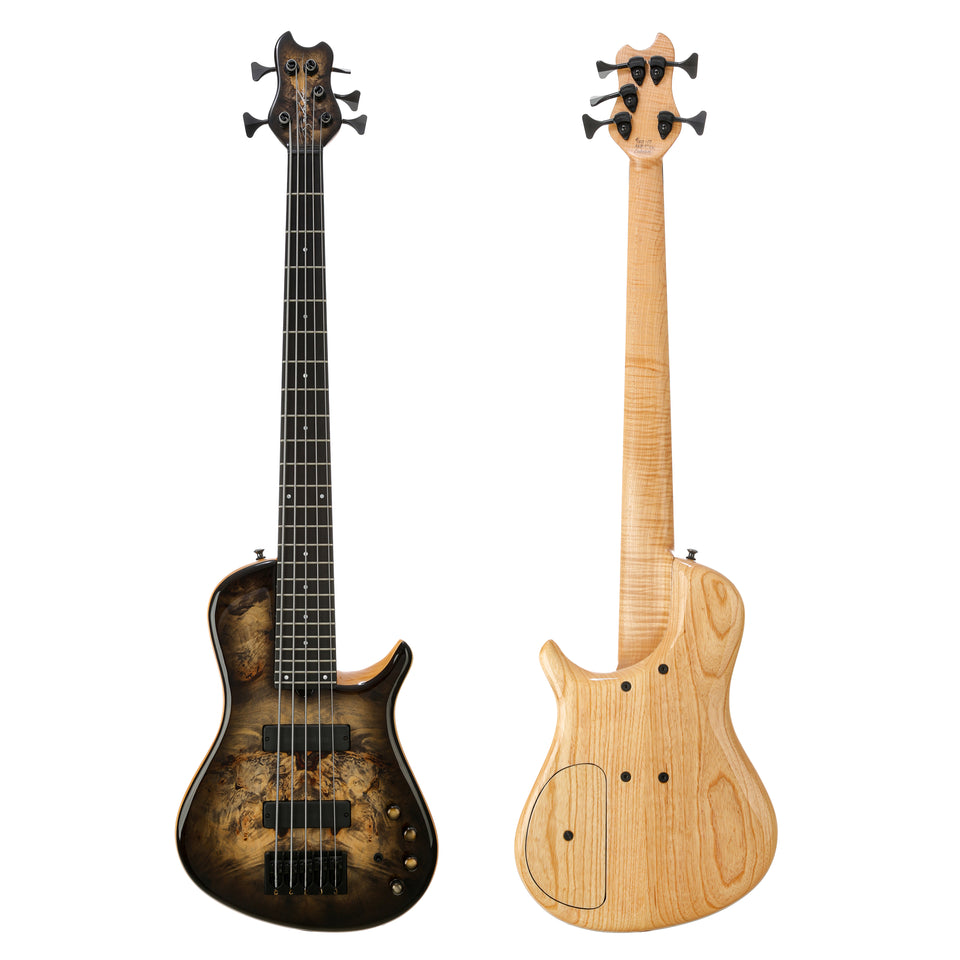 Brubaker KXB Custom 5 String Bass - Burl Natural Blackburst
