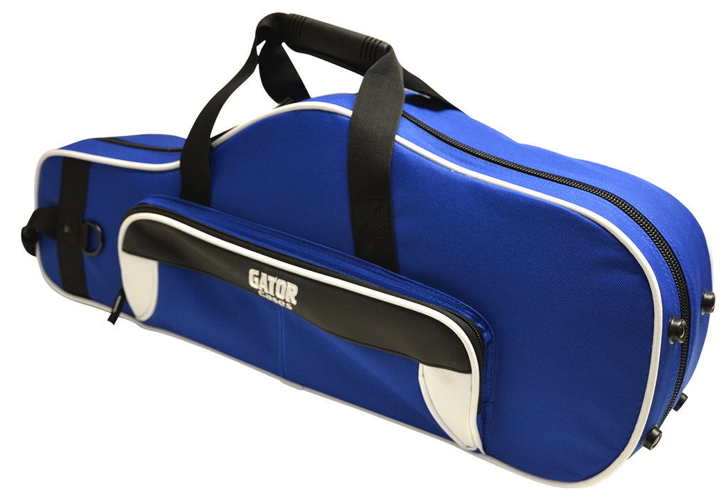 Gator GL-ALTOSAX-WB Spirit Series Lightweight Alto Saxophone Case, White And Blue