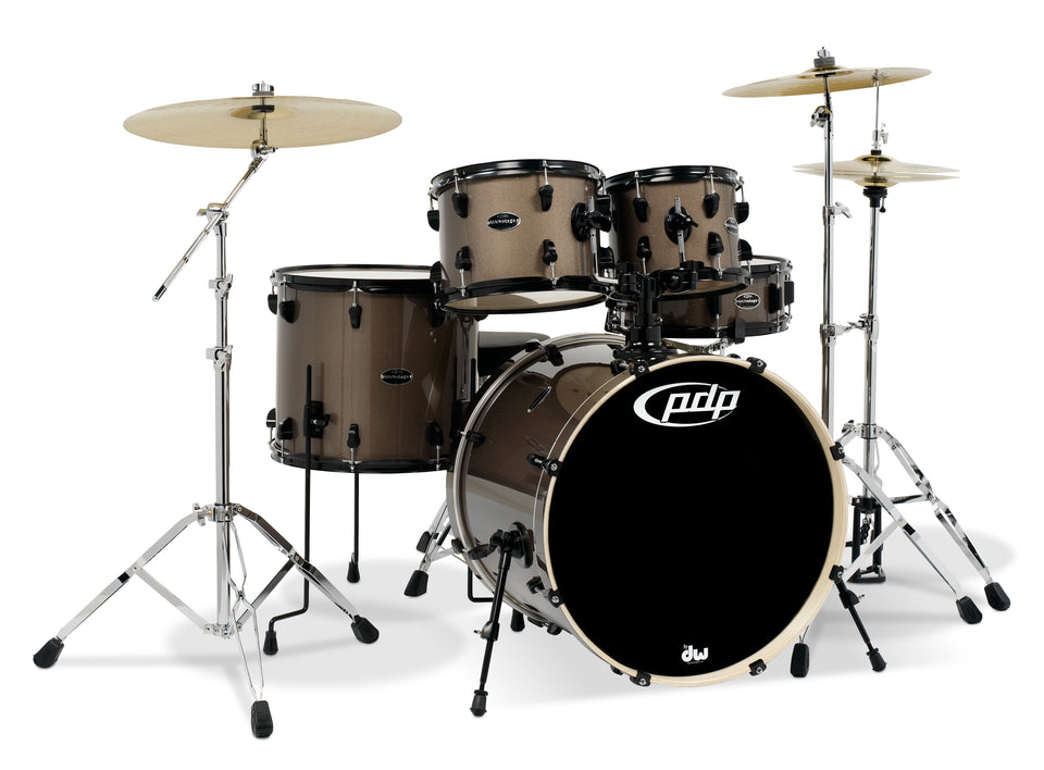 PDP PDMA2215P8BZ Mainstage 5-Piece Drum Kit W/ Paiste Cymbals, Hardware - Bronze Metal