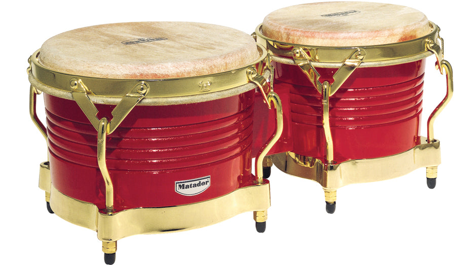 LP M201-RW Matador Wood Bongos, Blaze Red/Gold Tone