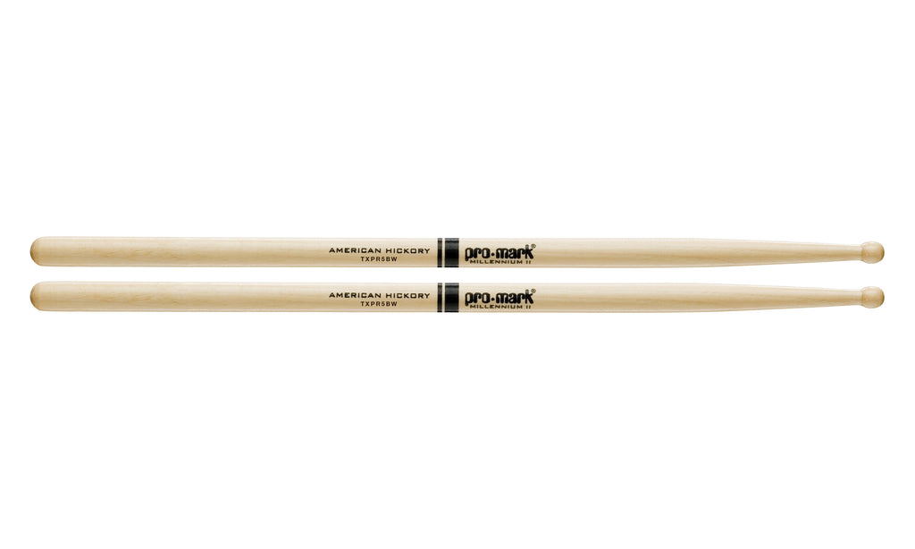 Promark TXPR5BW Hickory 5B Pro-Round Wood Tip drumstick