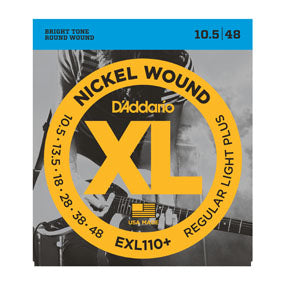 D'addario  EXL110+ Nickel Wound Electric Guitar Strings, Regular Light Plus, 10.5-48
