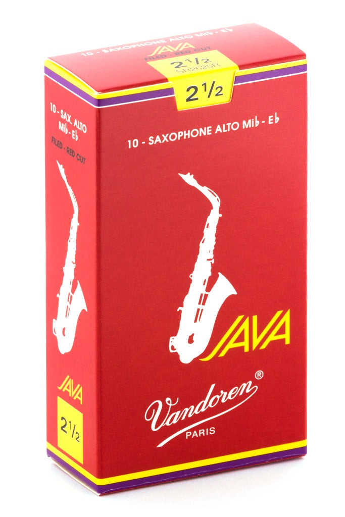 Vandoren Java Red Alto Sax Reeds, #2.5 - Box of 10
