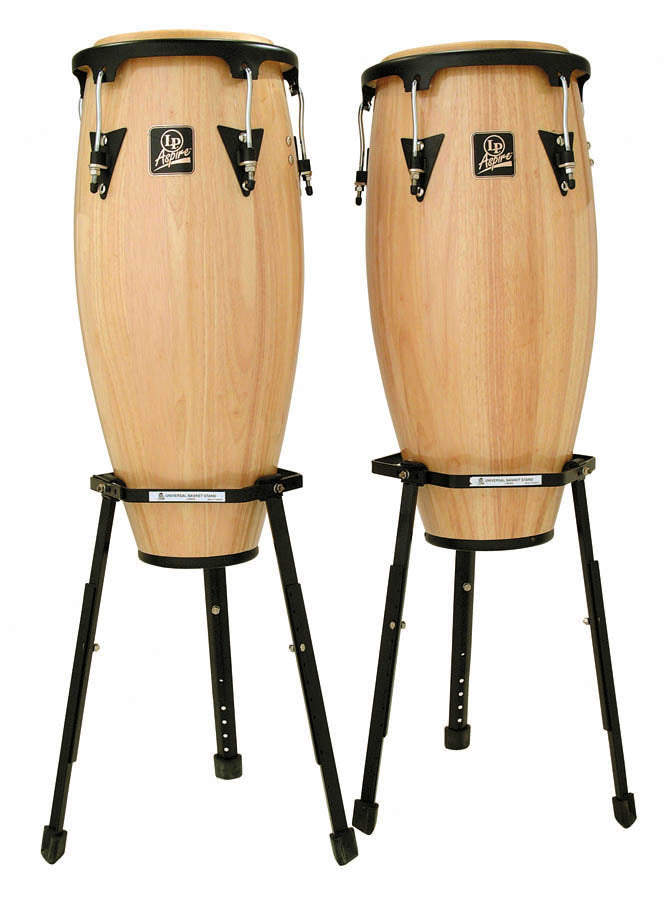 "LP LPA646B-AW Aspire Wood Congas 10"" And 11"" Set With Basket Stands, Natural/Black"