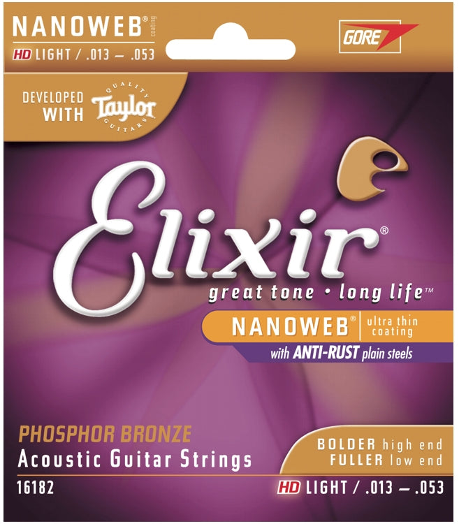 Elixir 16182 Phosphor Bronze Nanoweb Coated Acoustic Guitar Strings, HD Light (13 - 53)