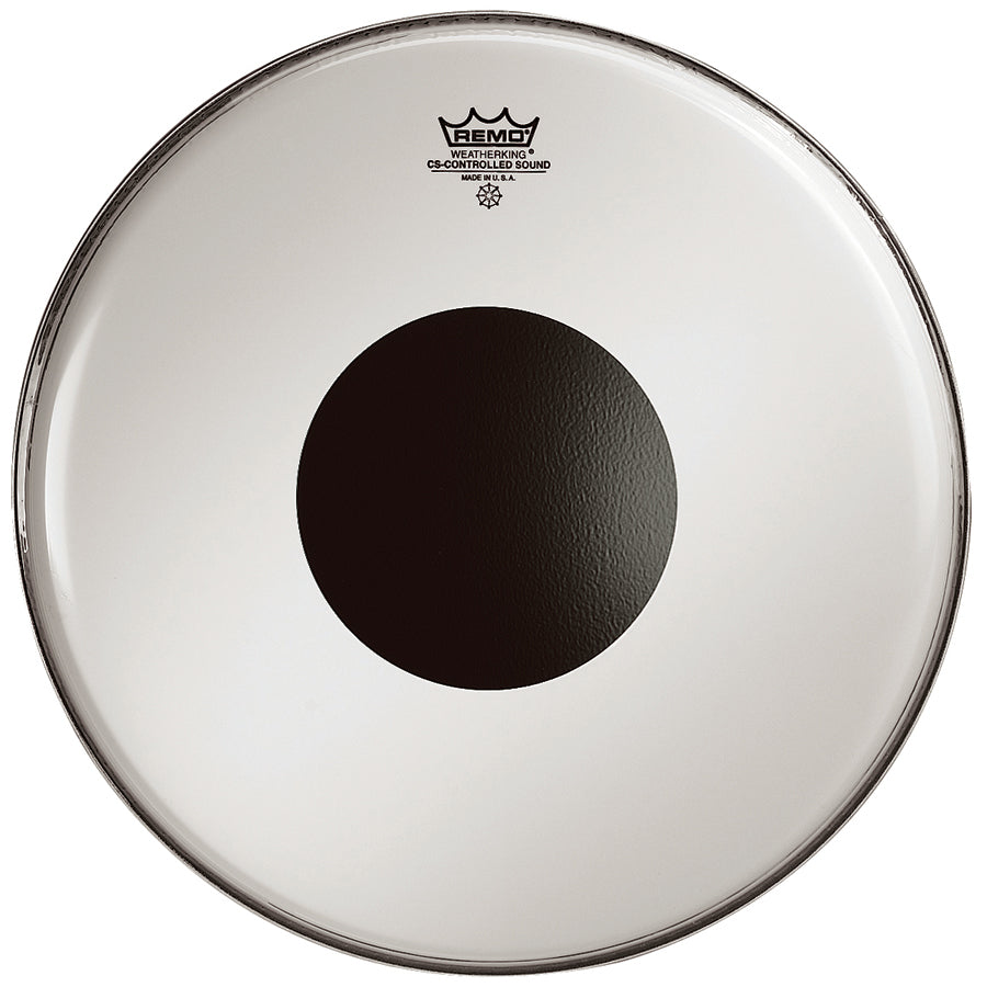 "Remo 28"" Clear Controlled Sound Bass Drum Head With Black Dot"