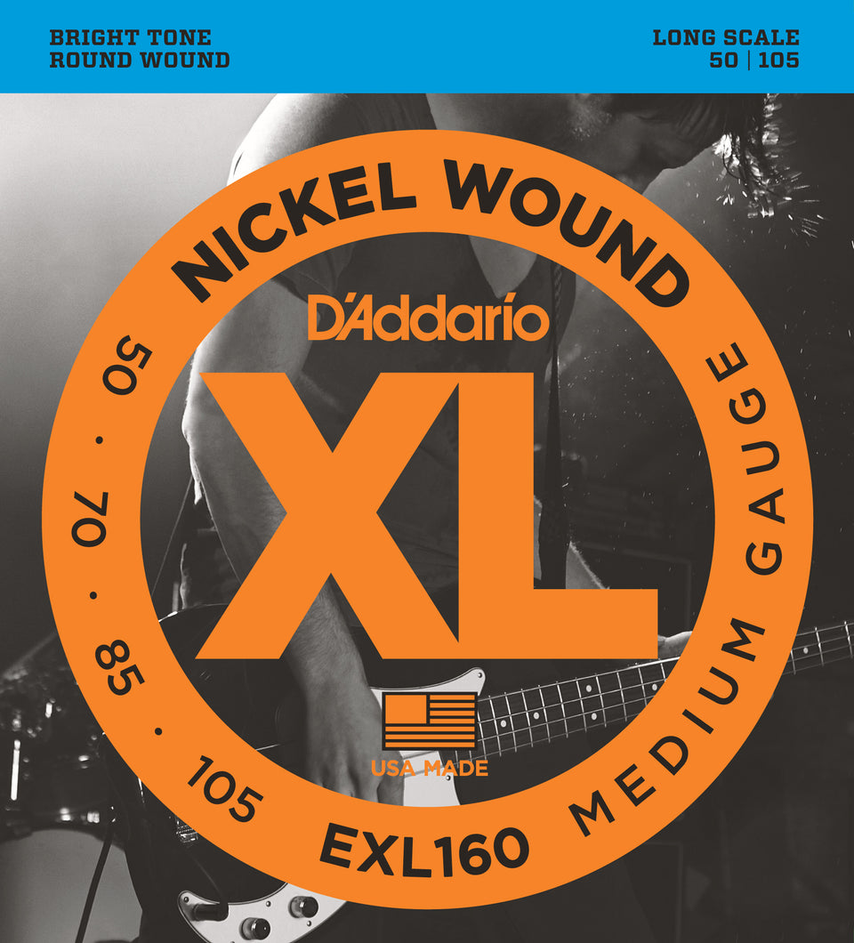 D'addario  EXL160 Nickel Wound Bass Guitar Strings, Medium, 50-105, Long Scale