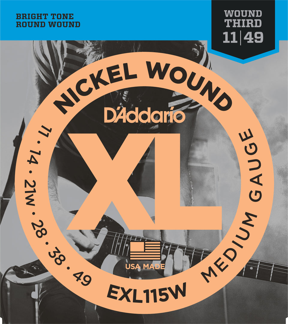 D'addario  EXL115W Nickel Wound Electric Guitar Strings, Medium/Blues-Jazz Rock, Wound 3rd, 18203