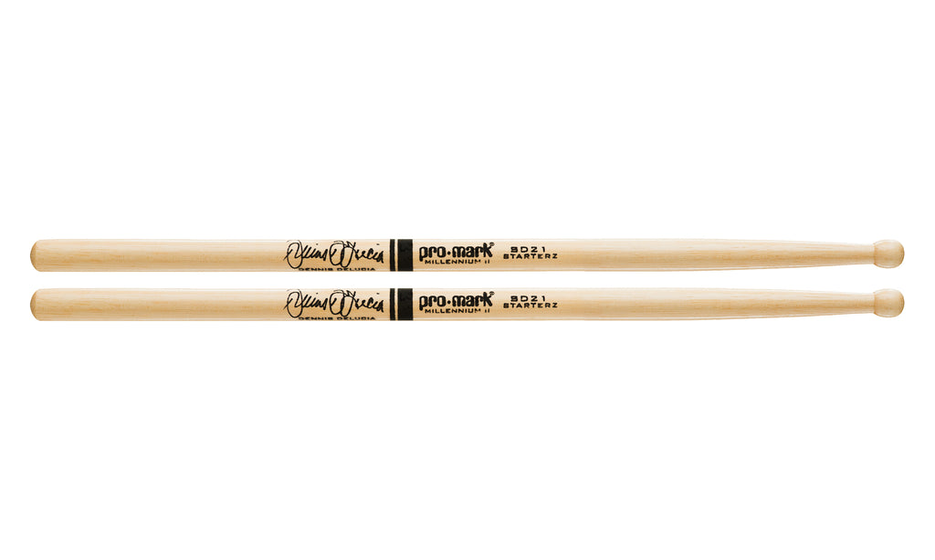 Promark TXSD21W Hickory SD21 Dennis Delucia Wood Tip drumstick