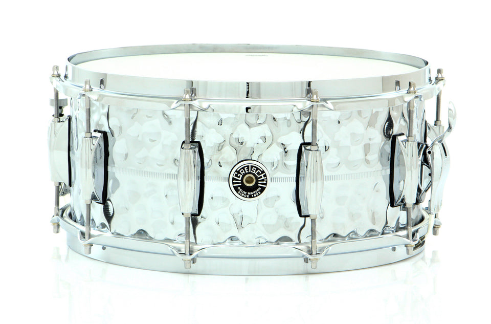 "Gretsch 14"" x 6.5"" Brooklyn Hand-Hammered Chrome Over Brass Snare Drum"